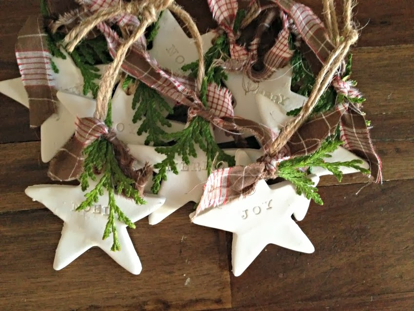 Simple, easy clay Christmas ornaments to give as gifts or tie onto gifts.