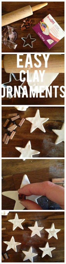 Simply, clay Christmas ornaments to tie onto gifts or give sets as gifts.