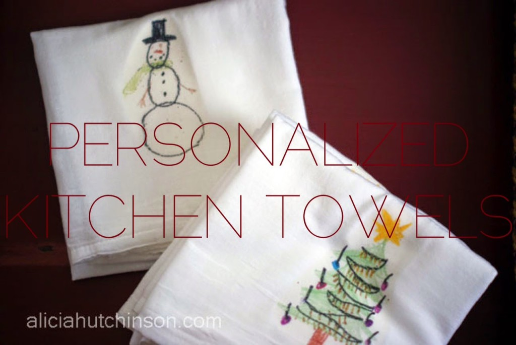 Use kid art to personalize kitchen towels to create great gifts!