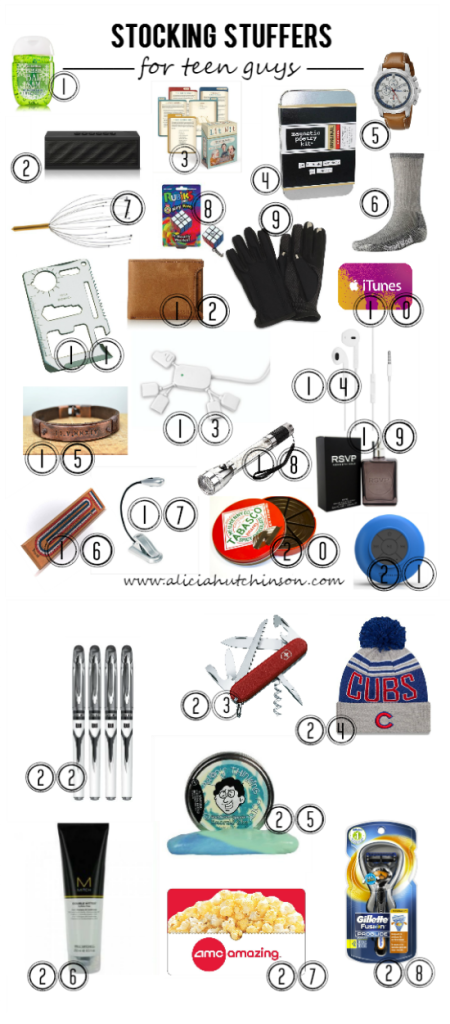 I find girls easier to shop for than my boys--especially my teen boy. I put my thinking cap on and thought up a HUGE list of stocking stuffers for the teen guy in your life that loves sports, reading, games, tech stuff, and more. A little bit of everything on this Stocking Stuff List for Teen Guys!
