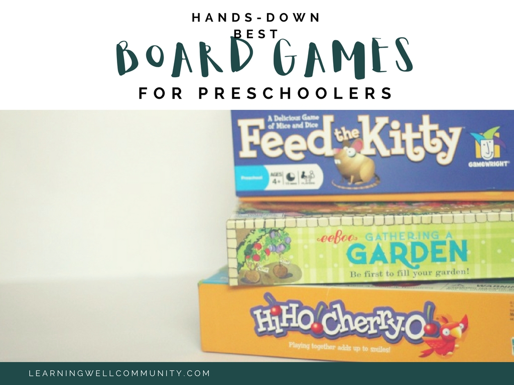 """Board games for preschoolers has never been high on by """"to buy"""" list. I tend to be a bit on the impatient side, BUT we've recently found some board games for preschoolers that are TOO GOOD not to share! If you have a preschooler at home and you want to keep them busy while you're schooling with the big kids. Read this."""