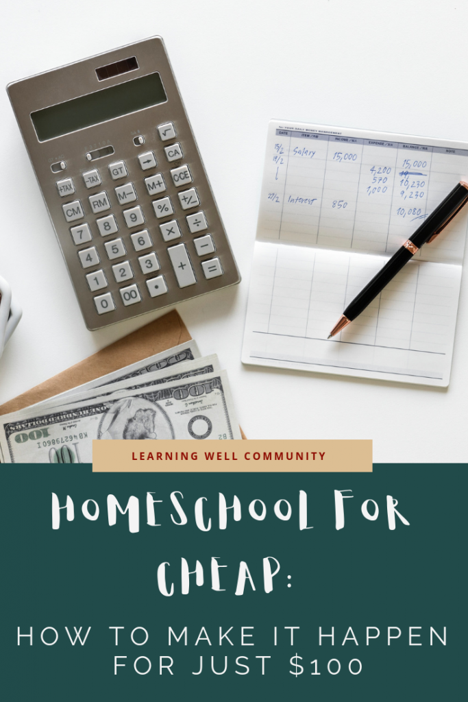 Sticking to a homeschool budget is hard but it's better with a plan. This post lays out two curriculum plans to homeschool your kid for 100 dollars!