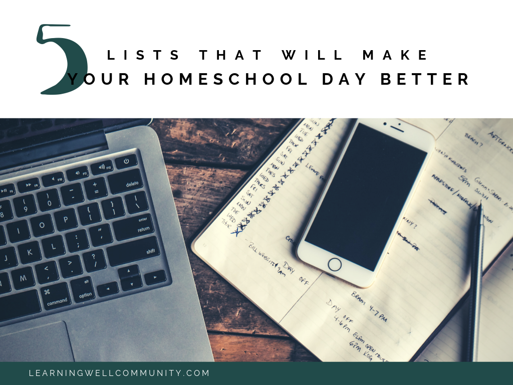 Creating daily lists for homeschool and home can be like having a personal assistant. Here's five lists to make today for a smoother day!