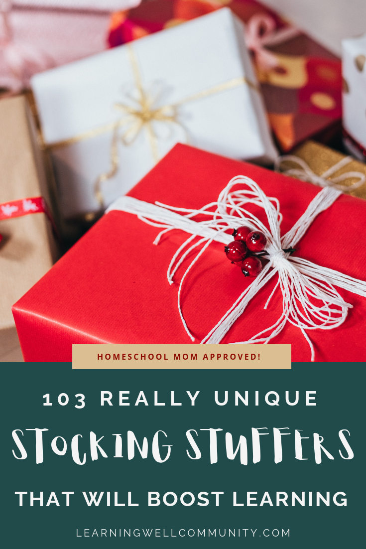 "Kids can spot educational stocking stuffers a mile away, but that doesn't have to mean ""boring!"" This post includes a MASSIVE list of gifts by subject."