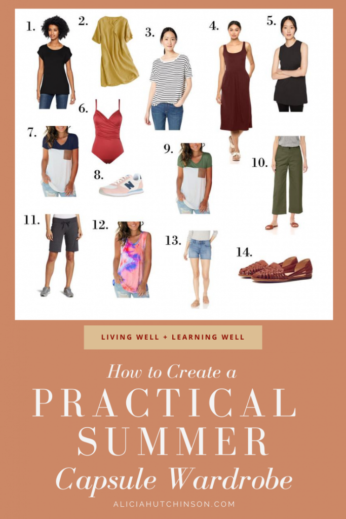 Need some summer wardrobe ideas that are simple and easy for moms? Here's a summer capsule wardrobe with lots of ideas for moms on the go!